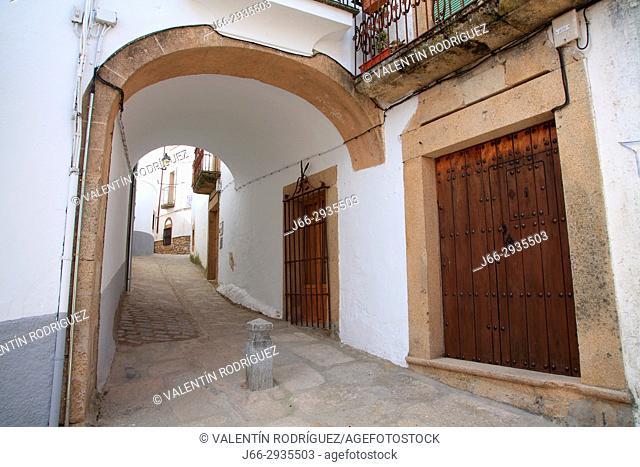 Street of the village Montánchez. Cáceres