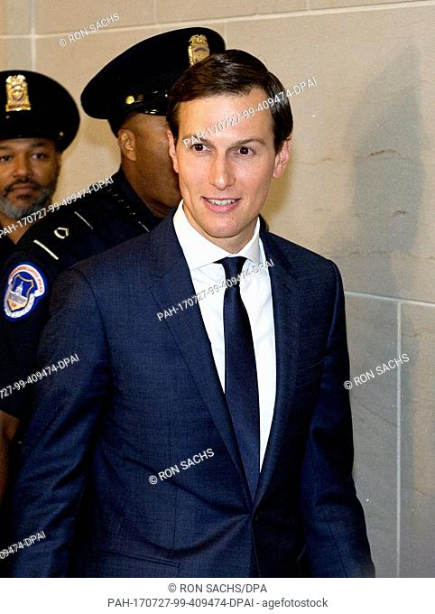 Trump senior advisor Jared Kushner departs after giving testimony before the US House Select Committee on Intelligence on his role meeting the Russians in...
