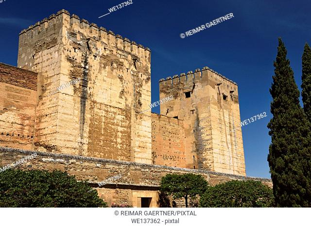 Ancient fortified Broken and Homage towers of Alcazaba military area of Alhambra fortress Granada