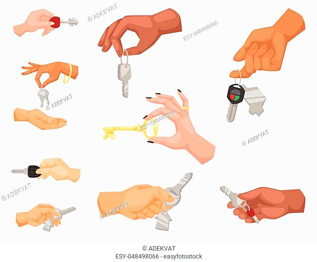 Hand holding key vector apartment selling human gesture sign security house concept arm symbol illustration. Business success body part with agent lock finger...