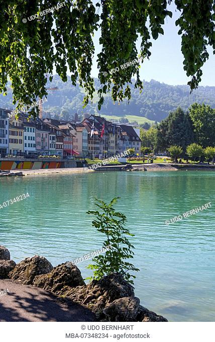 Vorstadtquai at lake, Zug, Lake Zug, Canton of Zug, Switzerland