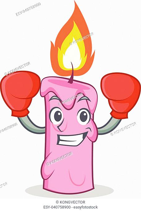 Boxing candle character cartoon style vector illustration