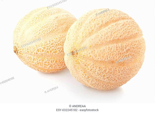 Two cantaloupe melons isolated on white, clipping path