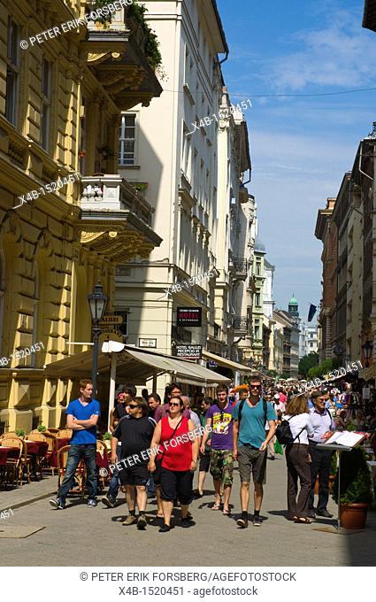 Vaci utca street central Budapest Hungary Europe