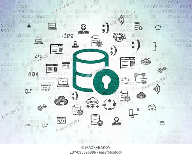 Software concept: Database With Lock on Digital Data Paper background