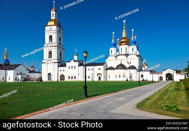 The view of five-domed St Sophia-Assumption Cathedral with the belfry - the first stone building in Siberia. Tobolsk Kremlin. Tobolsk. Tyumen Oblast