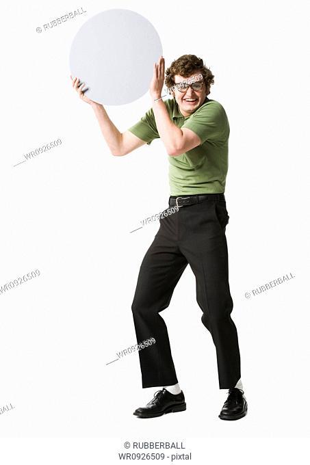 Nerdy guy holding blank sign