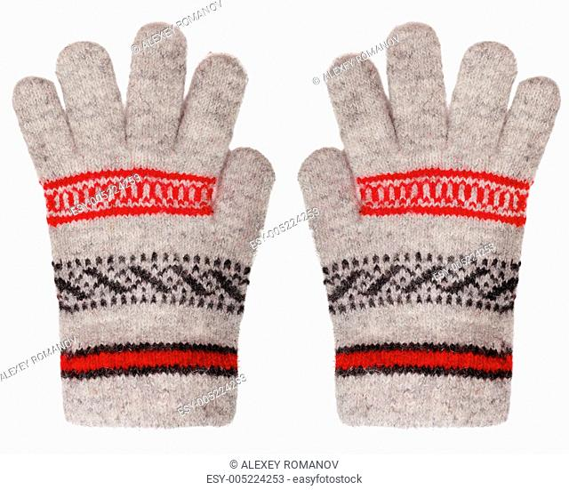 Woolen gloves isolated on white background