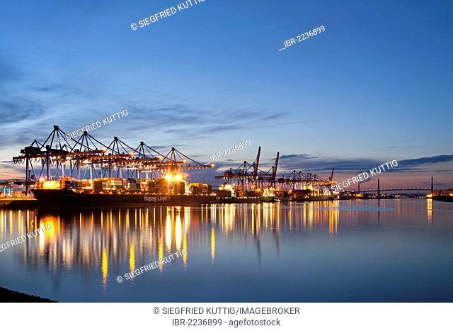 Altenwerder Container Terminal, Port of Hamburg, Koehlbrand Bridge at back, Hamburg, Germany, Europe
