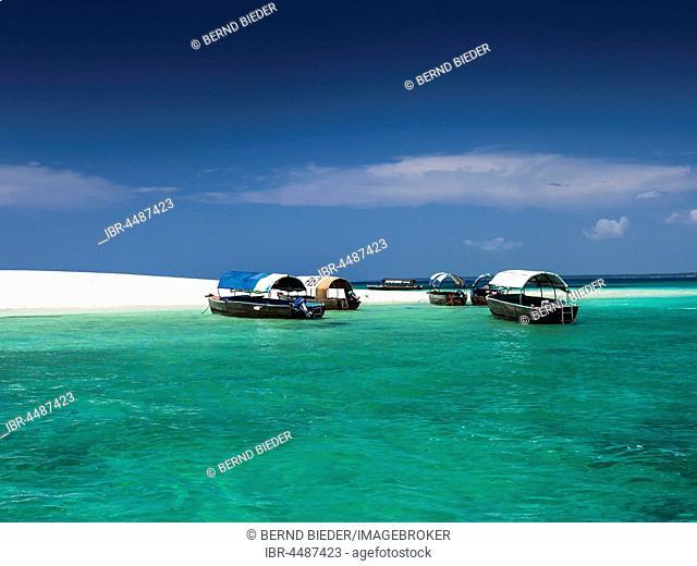 Boats in front of Prison Island, Sandbar, Zanzibar Archipelago, Tanzania