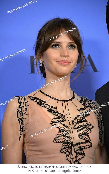Felicity Jones at the 74th Golden Globe Awards at The Beverly Hilton Hotel, Los Angeles, CA , USA , January 8, 2017