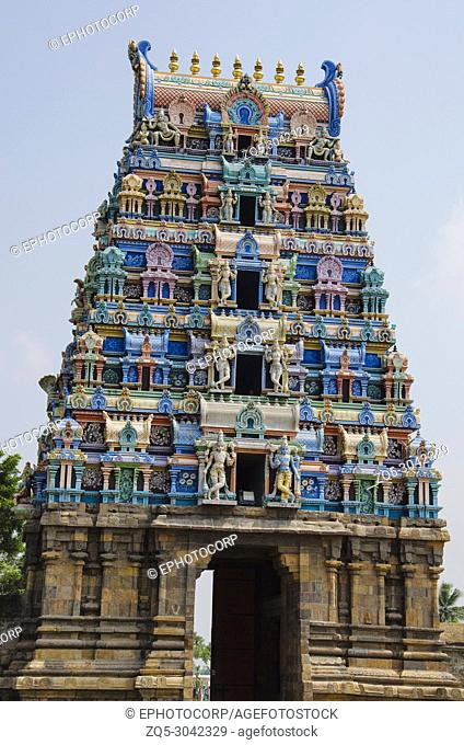 Colorful carved Gopuram, Near Shiva Temple, Gangaikonda Cholapuram, Tamil Nadu, India