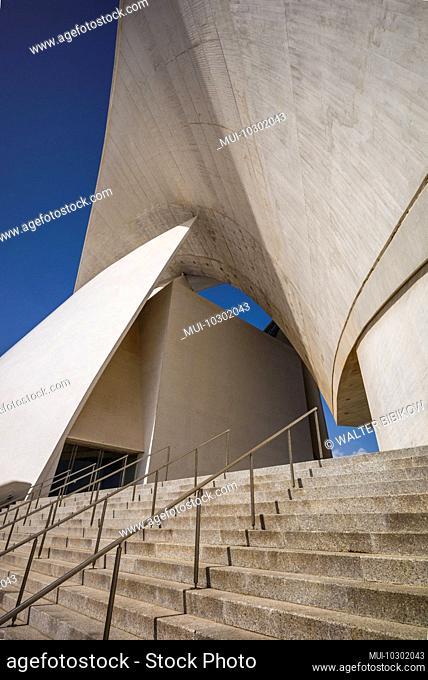 Spain, Canary Islands, Tenerife Island, Santa Cruz de Tenerife, Auditoio de Tenerife auditorium, designed by architect Santiago Calatrava