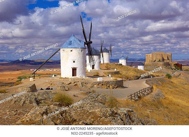 Consuegra, Castle, Windmills, Toledo province, Route of Don Quixote, Castilla-La Mancha, Spain