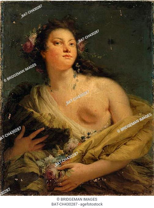 Portrait of a lady as Flora (oil on canvas), Tiepolo, Giovanni Battista (Giambattista) (1696-1770) / Private Collection / Photo © Christie's Images / Bridgeman...