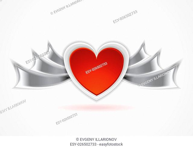 Red heart with metal wings. Valentine Day background