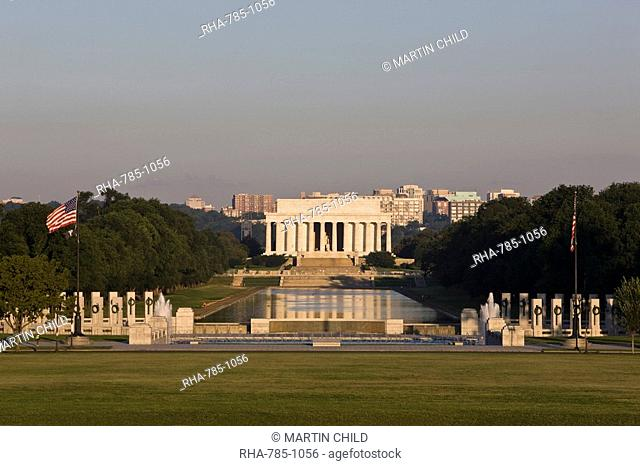 National World War 2 Memorial, Reflecting Pool and Lincoln Memorial from Washington Monument, Washington D.C., United States of America, North America
