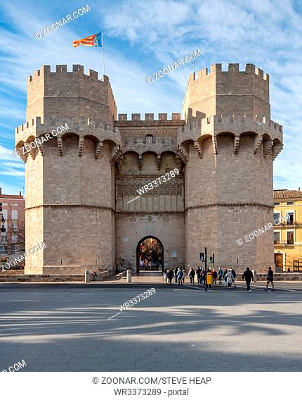 City Gate between two towers in old city of Valencia on coast of Spain