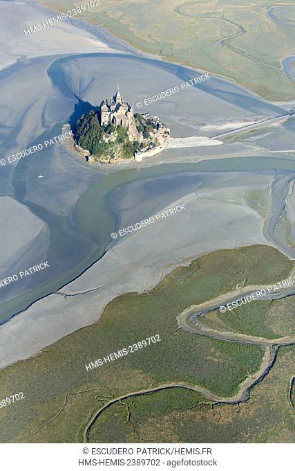 France, manche, Mont Saint Michel Bay listed as World Heritage by UNESCO, Mont Saint Michel (aerial view)