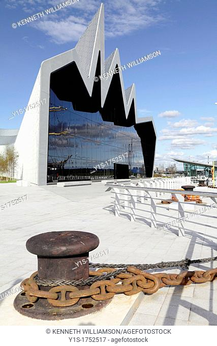 Scotland's Riverside Museum of Transport and Travel in Glasgow designed by architect Zaha Hadid on the North Bank of the River Clyde UK