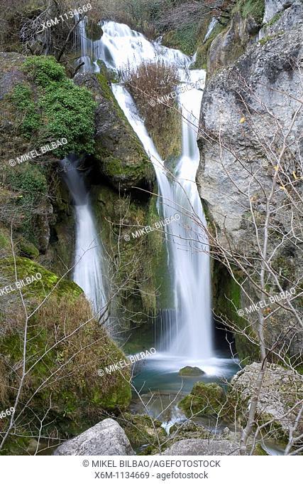 waterfall in Urederra river  Urederra source  Baquedano  Urbasa Andia Natural Park, Navarre, Spain, Europe