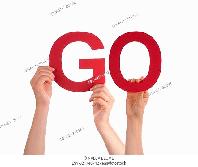 Many People Hands Holding Red Straight Word Go