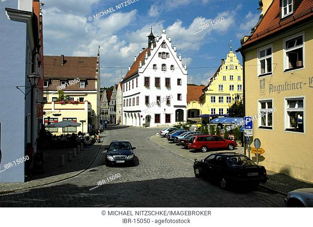 The market place in Wemding in the nature park Altmuehltal in Bavaria , Germany