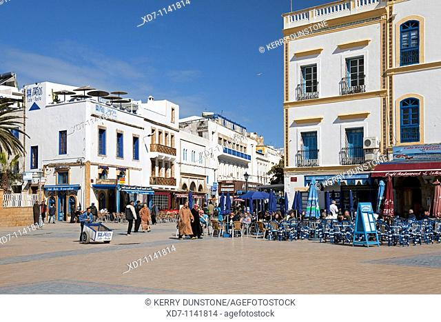 Morocco Atlantic Coast Essaouira Place Moulay Hassan with cafes and hotel