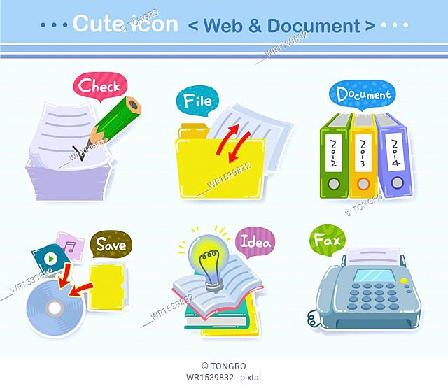 a set of different cute icons related to web and documents