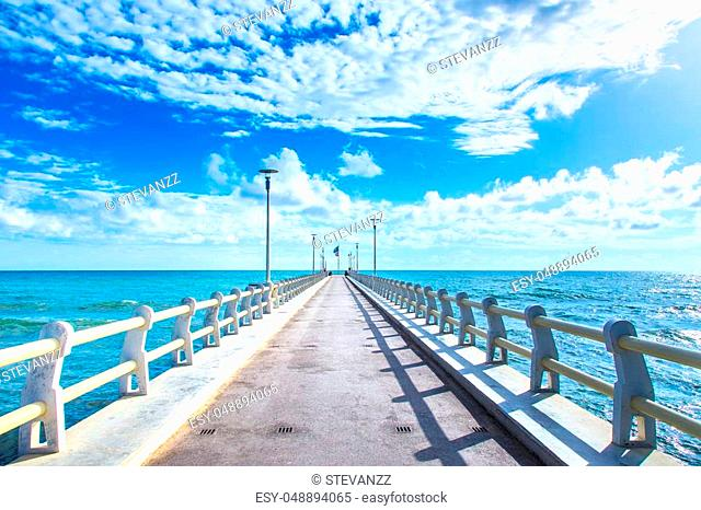 Pier or jetty, footpath promenade and sea in Forte dei Marmi Versilia Tuscany Italy