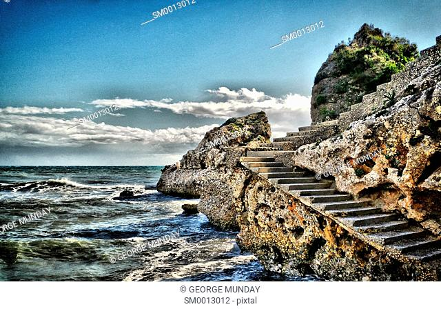 Old Steps on Playa de Carrebeo; part of Nerja;. Costa Del Sol; Malaga Province; . Andalucia; Spain;