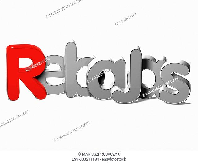 3D Word Sale In Spanish Language on white background