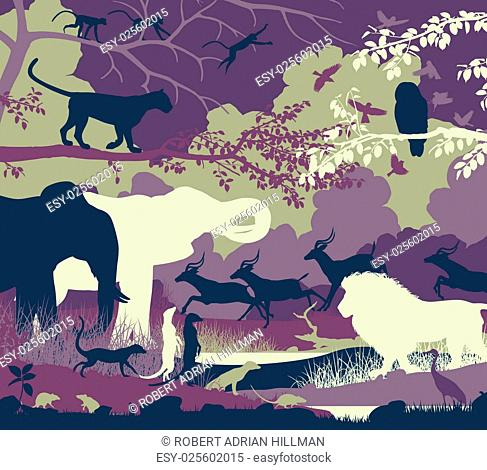 Colorful editable vector illustration of wildlife diversity