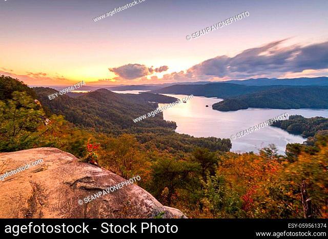Lake Jocassee, South Carolina, USA in early autumn at sunset