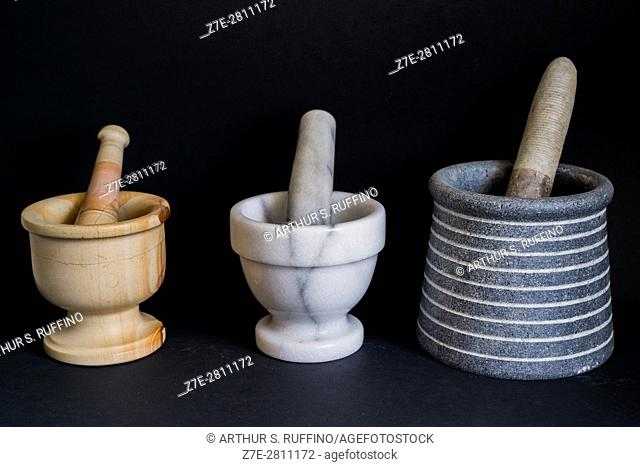 International collection of mortar and pestle sets from (left to right) Pakistan, Italy, and Brazil
