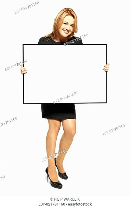 Attractive Woman Holding Up a Poster - Isolated