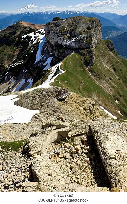 Trenches of first world war, Bondone mountain, Trentino Alto Adige, Italy
