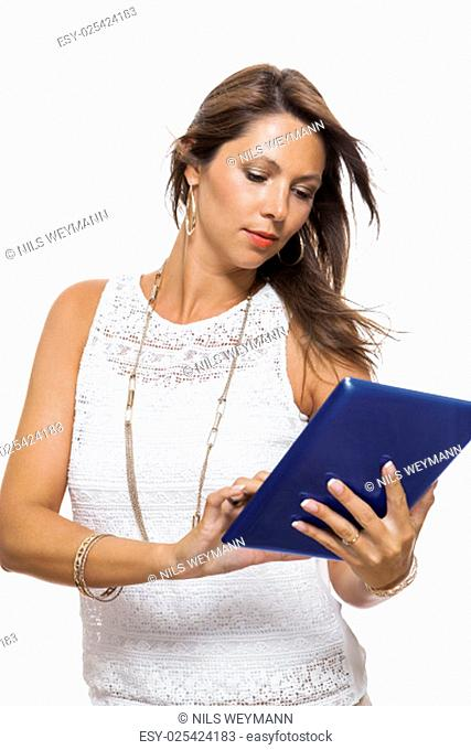 young attractive woman with tablet pc for presentation with copy space isolated on white background