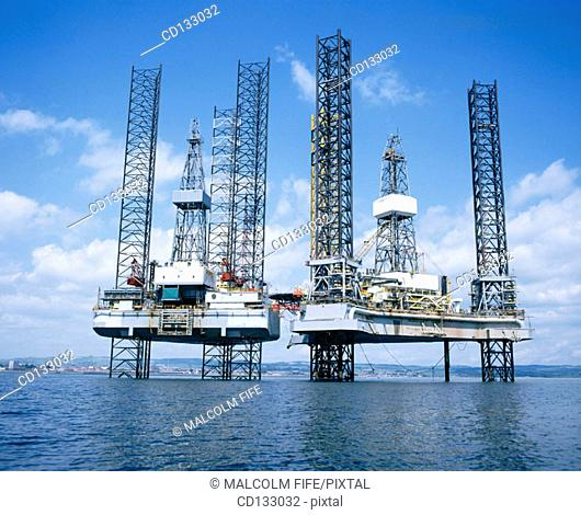 Jack-up oil rigs. Largo Bay. Firth of Forth. Scotland