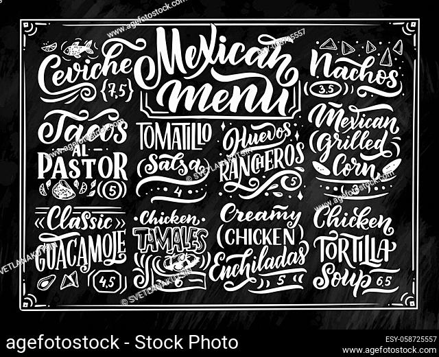 Mexican Menu lettering with traditional food names Guacamole, Enchilada, Tacos, Nachos and more. Vector vintage illustration on chalk background