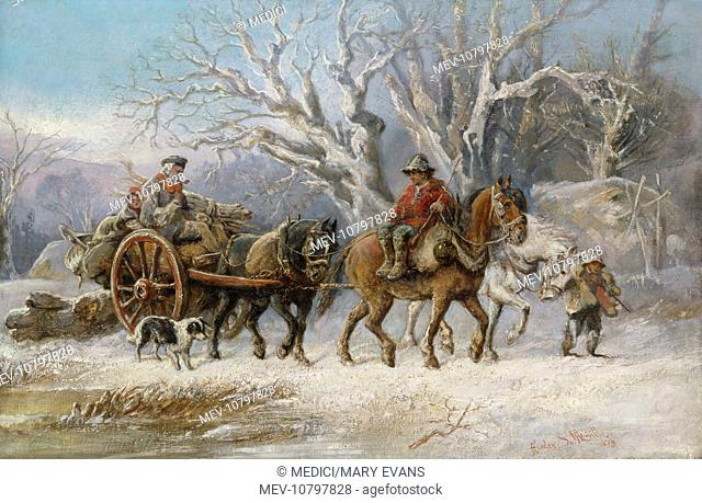 The Wood Gatherers' 1879 – snowscene – men and boys with horses and cart, and a dog