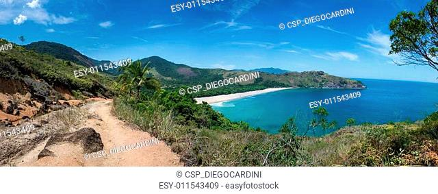 Incredible Huge Panoramic View of Bonete Beach at Ilhabela Sao P