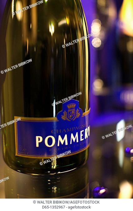 France, Marne, Champagne Ardenne, Reims, Pommery champagne winery,detail of champagne bottle