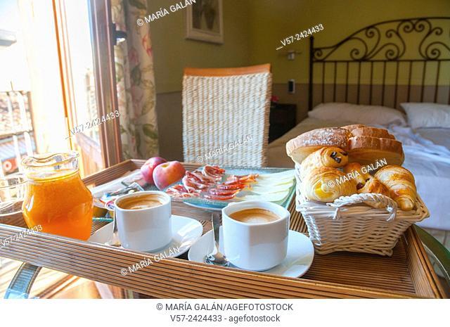 Breakfast in a rural hotel. Rascafria, Madrid province, Spain