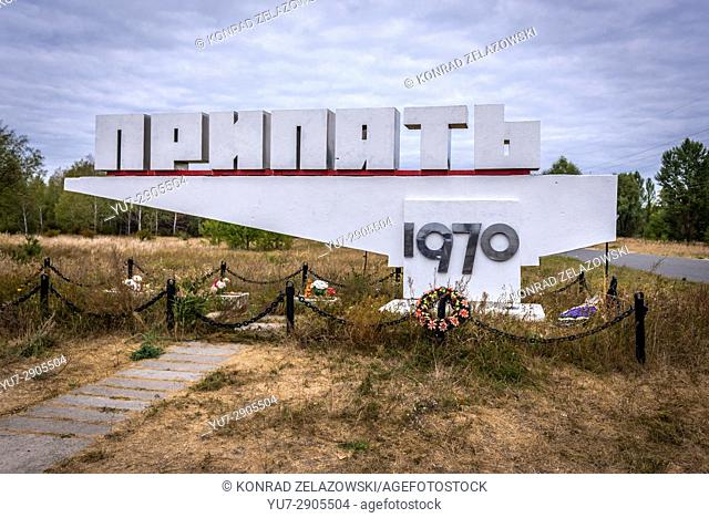 Welcome sign of Pripyat city in Chernobyl Nuclear Power Plant Zone of Alienation exclusion area around the nuclear reactor disaster in Ukraine