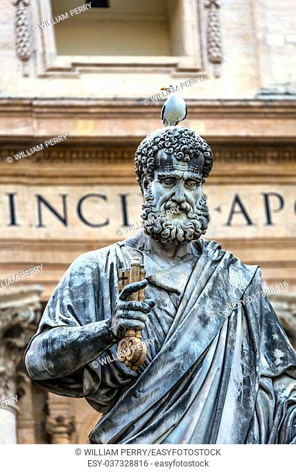 Saint Peter Keys Statue's Seagull Basilica Vatican Rome Italy. Statue commissioned in 1847 by Giuseppe De Fabris
