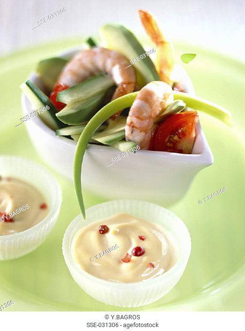 Avocado and mayonnaise cocktail with lobster bisque