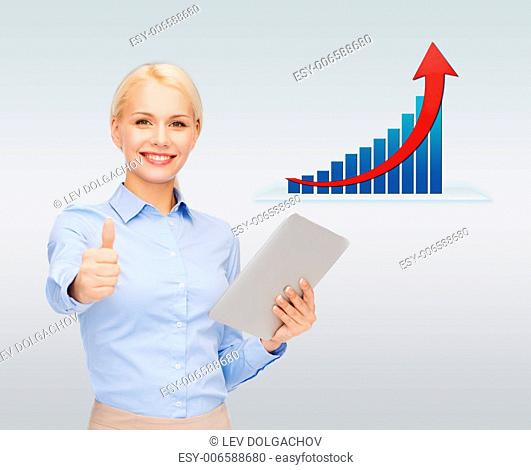 business, people, success , technology and statistics concept - young smiling businesswoman with tablet pc computer showing thumbs up over gray background and...