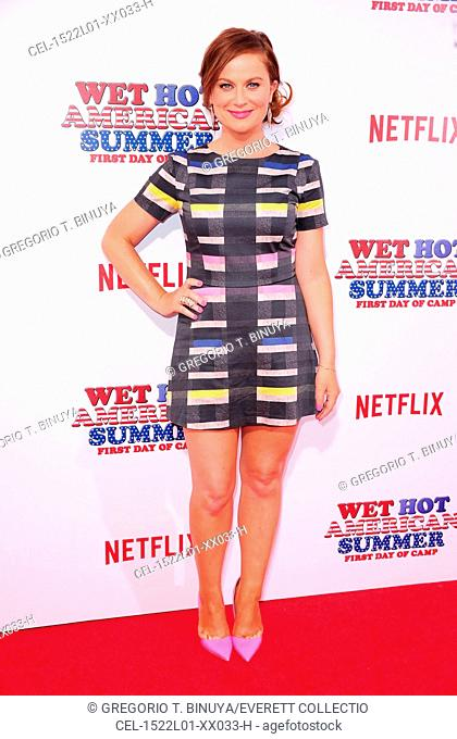 Amy Poehler (wearing a Beckley romper and Kurt Geiger shoes) at arrivals for Netflix's WET HOT AMERICAN SUMMER: FIRST DAY OF CAMP Premiere