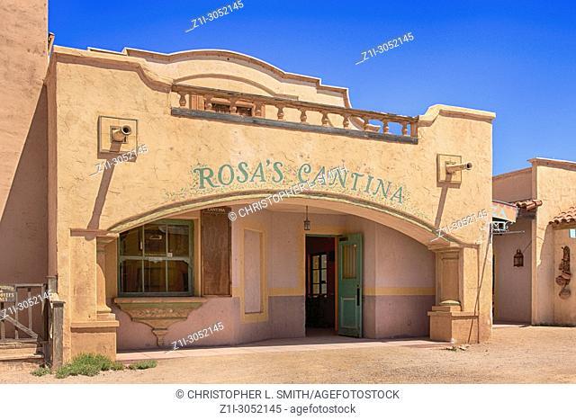 Rosa's Cantina building at the Old Tucson Film Studios amusement park in Arizona
